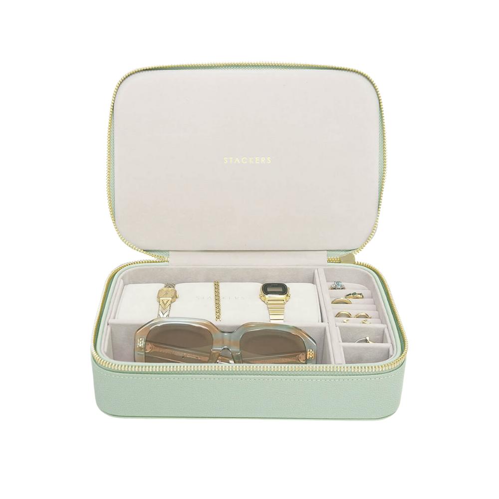 XL Travel Box Sage Green Green & Grey Velvet-1