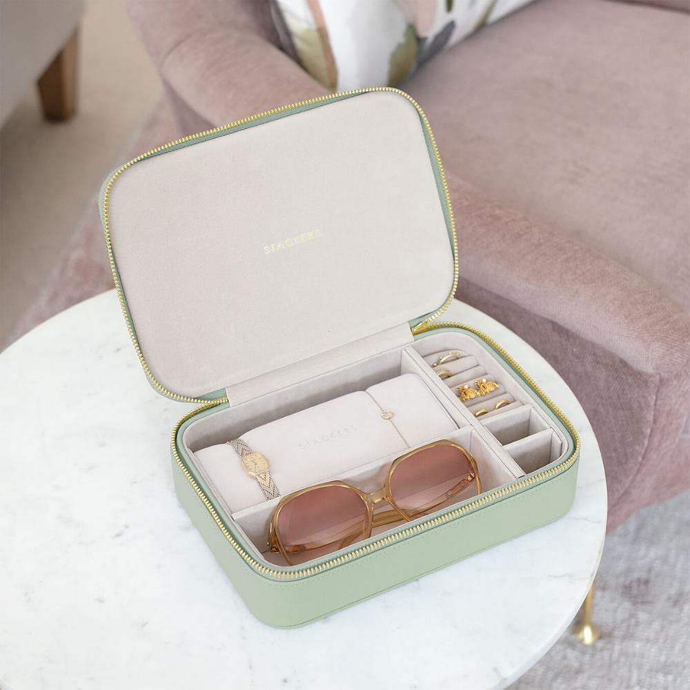 XL Travel Box Sage Green Green & Grey Velvet-3