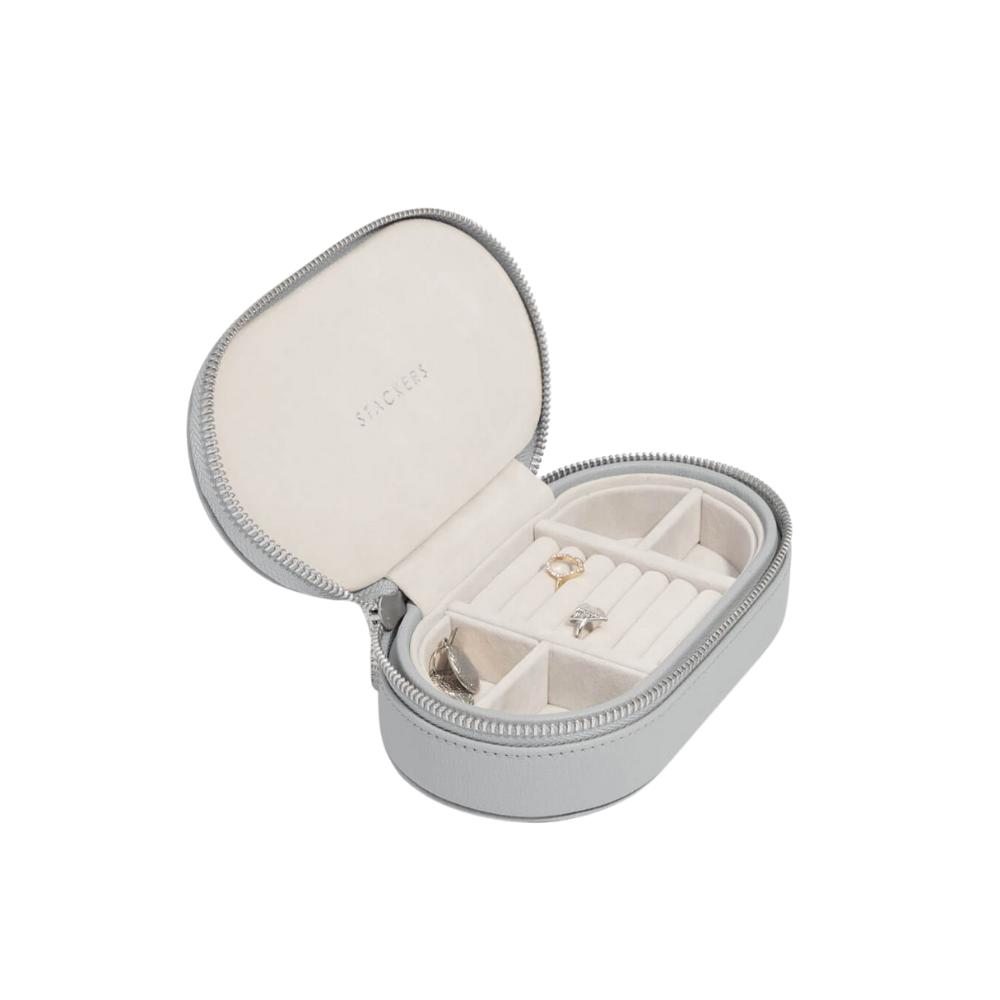 Oval Travel Box Pebble Grey & Grey Velvet-1