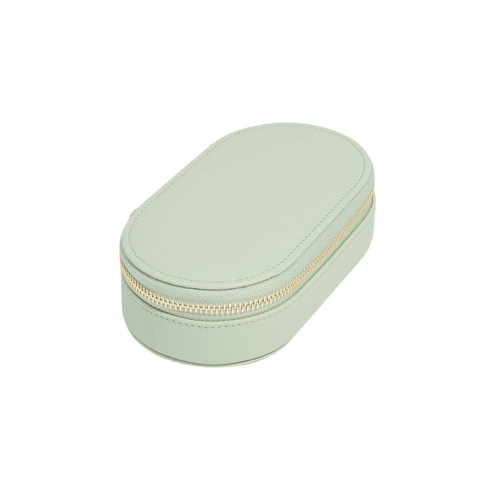 Oval Travel Box Sage Green & Grey Velvet-2