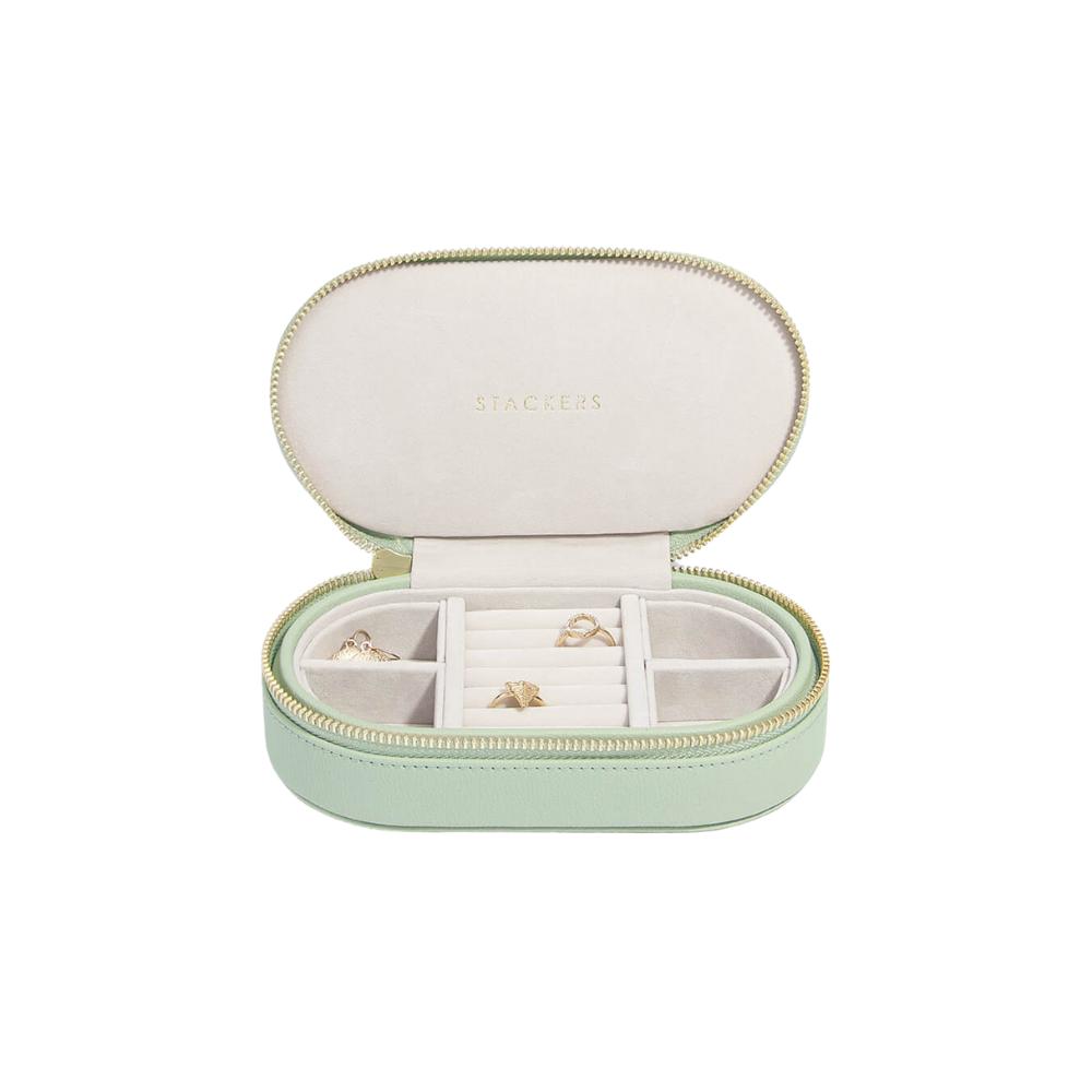 Oval Travel Box Sage Green & Grey Velvet-1