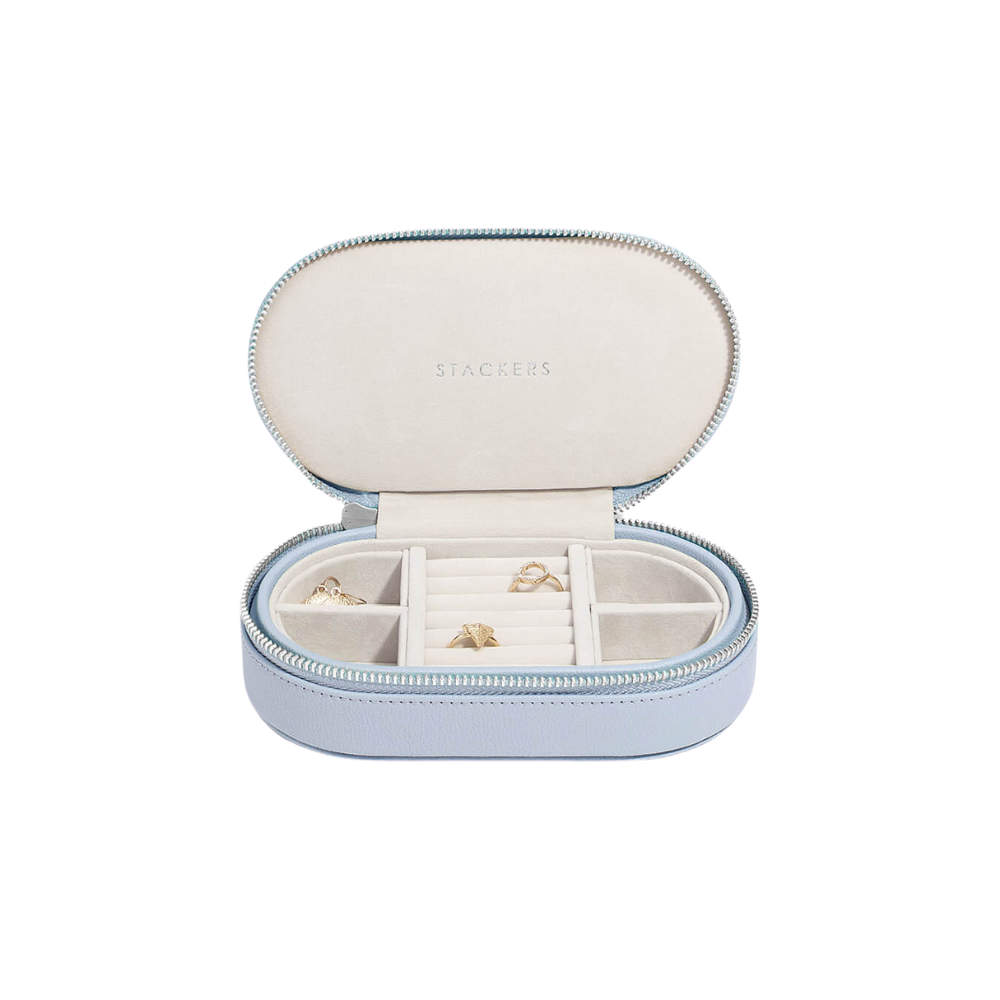 Oval Travel Box Lavender & Grey Velvet-1