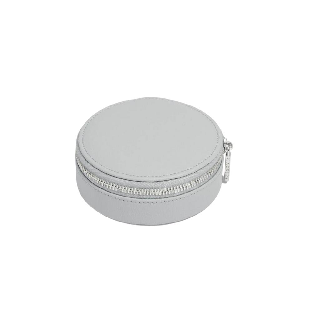 Round Travel Box Pebble Grey & Grey Velvet-2