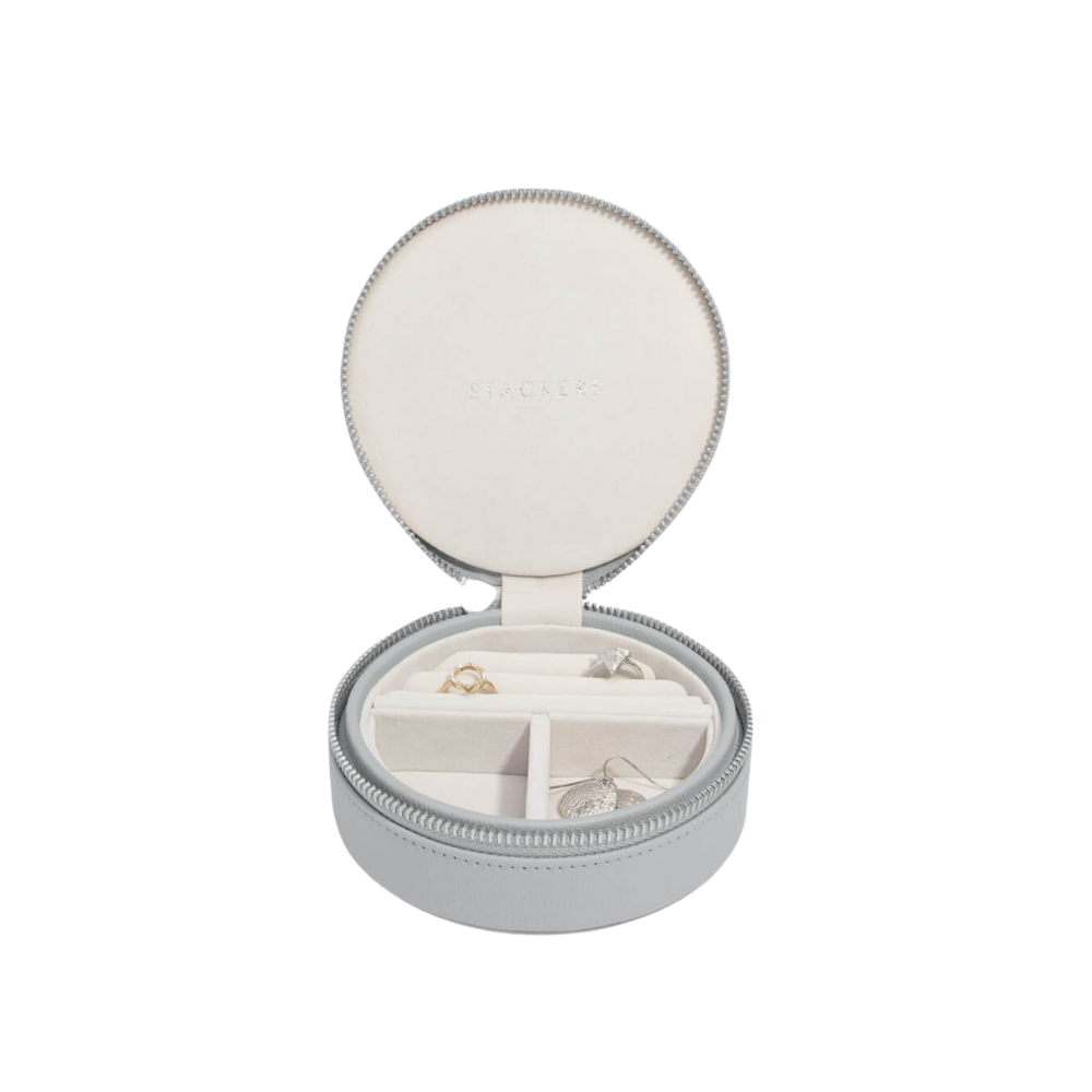 Round Travel Box Pebble Grey & Grey Velvet-1