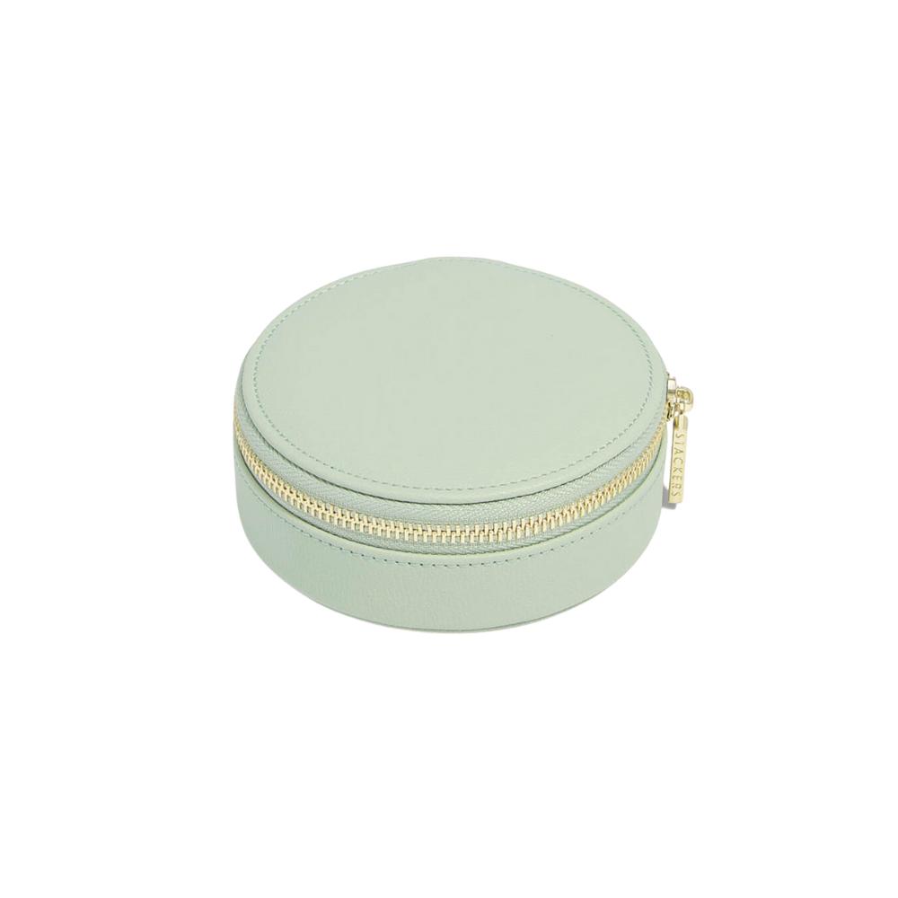 Round Travel Box Sage Green & Grey Velvet-2