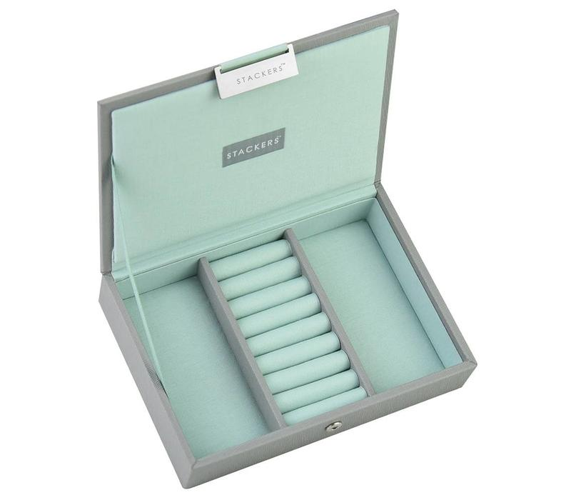 Box Mini Top Stacker in Dove Grey & Mint
