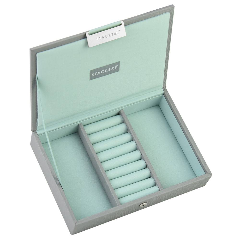 Box Mini Top Stacker in Dove Grey & Mint-1
