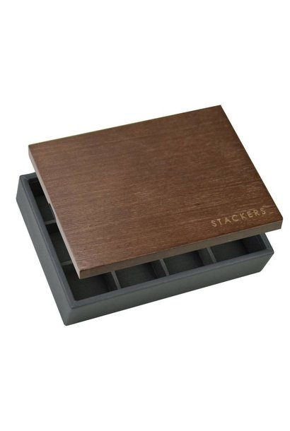 Box Mini for Cufflinks in Charcoal Grey with Dark Wooden Lid