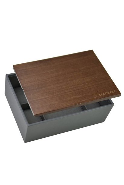 Box Classic for Watches in Charcoal Grey with Dark Wooden Lid