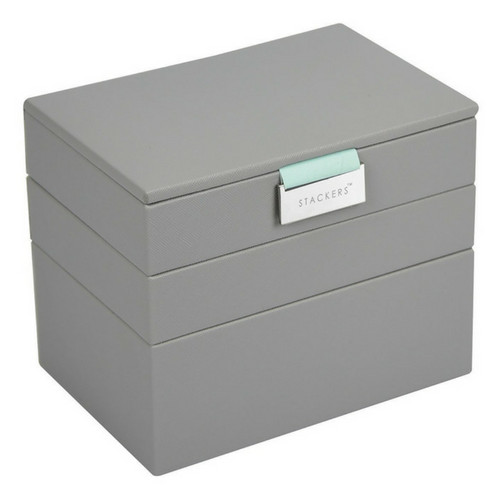 Mini 2-Set Stapelbare Juwelendoos in Dove Grey & Mint-1