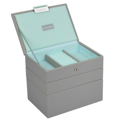 Mini 2-Set Stapelbare Juwelendoos in Dove Grey & Mint-2