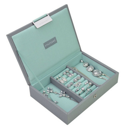 Mini 2-Set Stapelbare Juwelendoos in Dove Grey & Mint-3