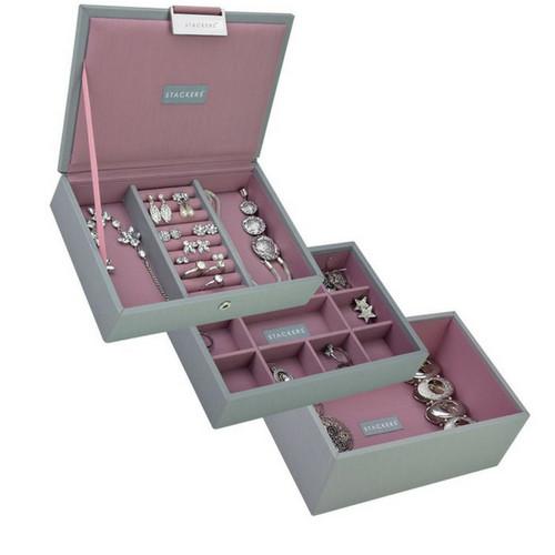 Mini 2-Set Stapelbare Juwelendoos in Dove Grey & Rose-2