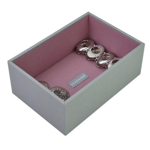 Mini 2-Set Stapelbare Juwelendoos in Dove Grey & Rose-5