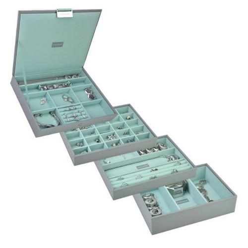 Box Classic 4-Set stapelbare sieradendoos in Dove Grey & Mint-1