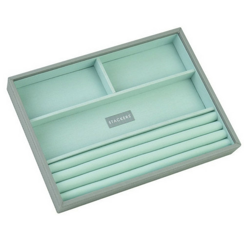 Box Classic 4-Set stapelbare sieradendoos in Dove Grey & Mint-4