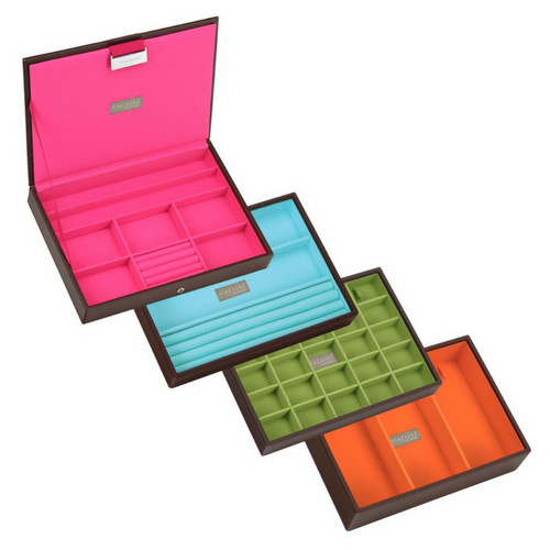 Box Classic 4-Set stapelbare sieradendoos in Choc & Brights-3