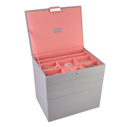 Box Classic 5-Set stapelbare sieradendoos in Dove Grey & Coral-2