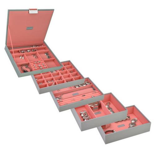 Box Classic 5-Set stapelbare sieradendoos in Dove Grey & Coral-3