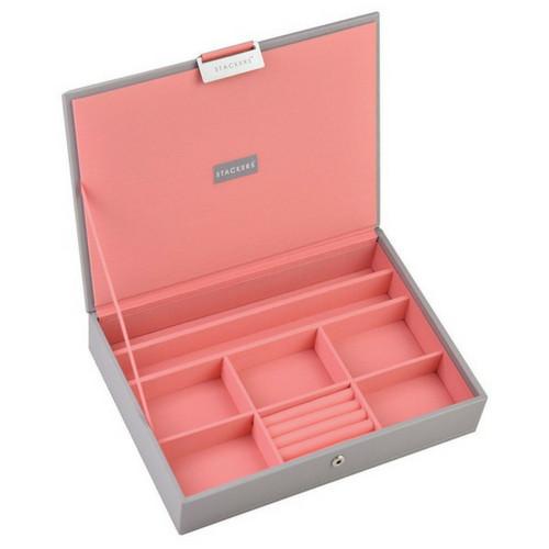 Box Classic 5-Set stapelbare sieradendoos in Dove Grey & Coral-4