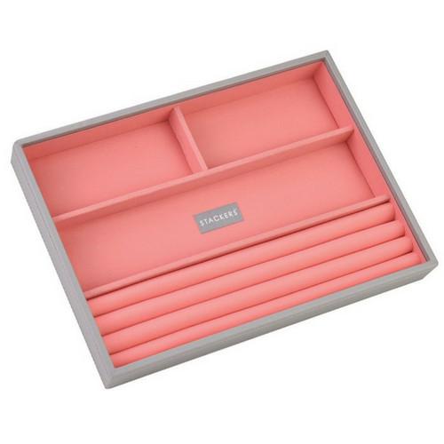Box Classic 5-Set stapelbare sieradendoos in Dove Grey & Coral-6