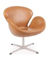 Swan chair Leer Cognac