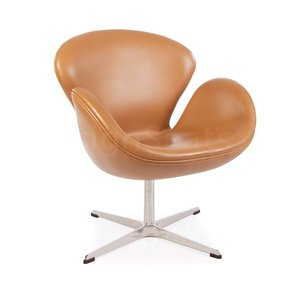Swan chair Cognac Leer
