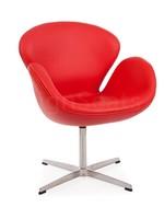 Swan chair Leer Rood