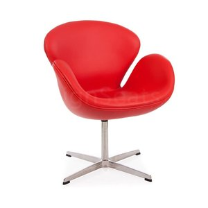 Swan chair Rood Leer