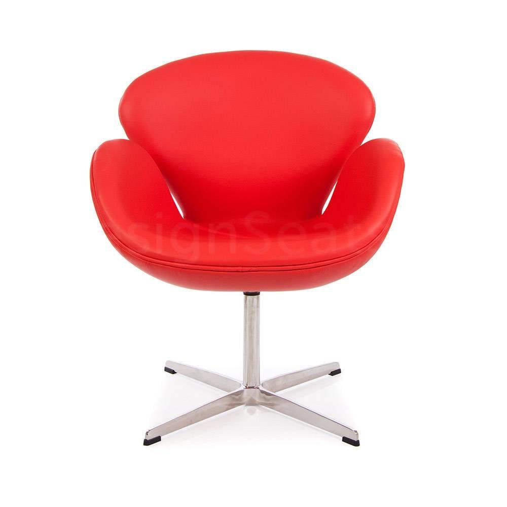 Bureaustoel Wit Leer Metalen Voet.Swan Chair Leer Rood