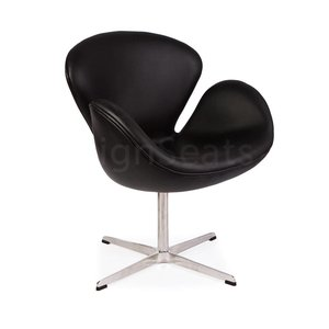Swan chair Zwart Leer