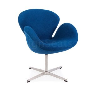 Swan chair Blue Wool