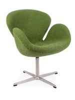 Swan chair Wol Olijfgroen