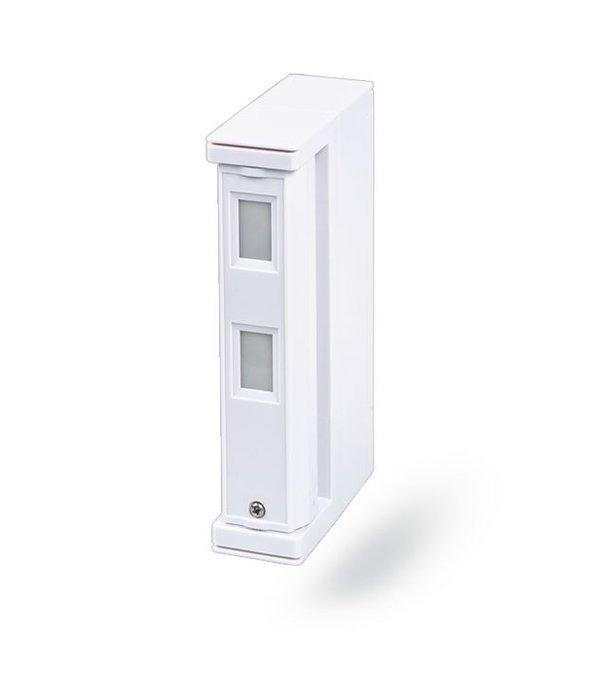 Jablotron Oasis draadloze buiten bewegingsdetector (gordijnlens) beveiligd een raam/deur pui.