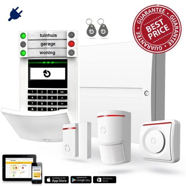 100 alarmsysteem basis kit BUS bekabeld GSM en LAN inclusief montage.