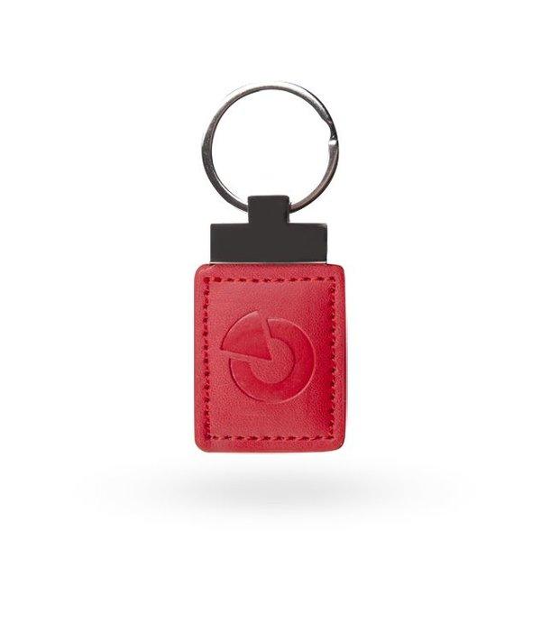 Jablotron RFID tag rood leer en metaal.