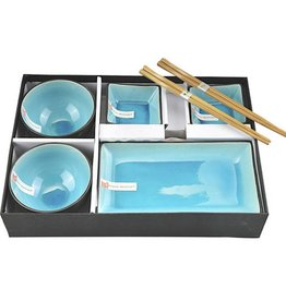 Tokyo Design Studio Tokyo Design Studio Glassy Turquoise 6-teiliges Sushi Geschirr Set