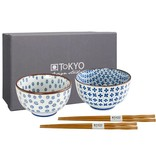 Tokyo Design Studio Tokyo Design Studio Set of 2 Bowls Ø 12.7 cm with 2 Pairs of Chopsticks – in beautiful Gift Box