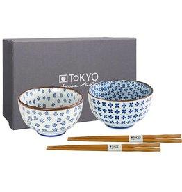 Tokyo Design Studio Tokyo Design Studio Set of 2 Bowls Ø 12.7 cm with 2 Pairs of Chopsticks