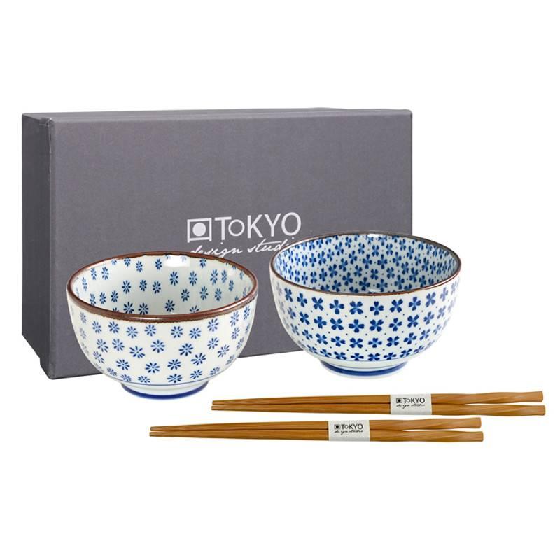 Tokyo Design Studio Coffret de 2 Bols Ø 12,7 cm avec des baguettes de Tokyo Design Studio