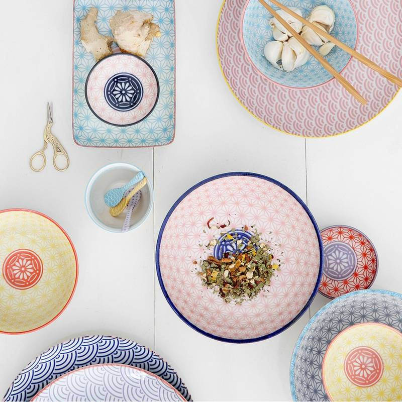 Tokyo Design Studio Tokyo Design Studio Star Wave Borden Ø 16 cm - set van 6 - Meerkleurig