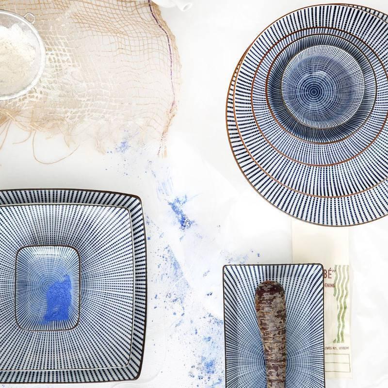 Tokyo Design Studio Tokyo Design Studio Sendan Tokusa Blue Teller Rechteckig 23 x 11 cm