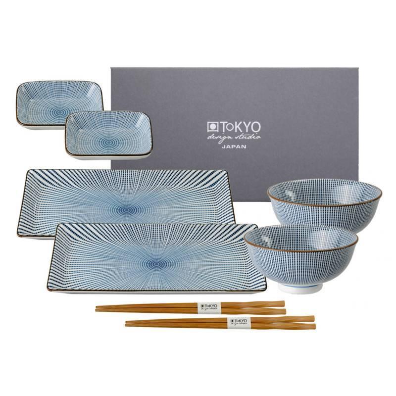 tokyo design studio sendan tokusa blue sushi servies set. Black Bedroom Furniture Sets. Home Design Ideas