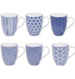 Tokyo Design Studio Tokyo Design Studio New Nippon Blue 6-er Set Tassen mit Henkel 380 ml