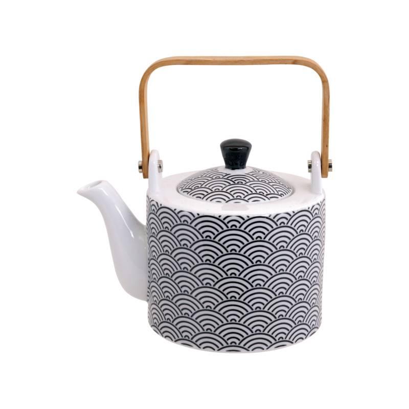 Tokyo Design Studio Tokyo Design Studio New Nippon Black Teekanne 0,8 Liter mit Holzgriff und Edelstahlsieb