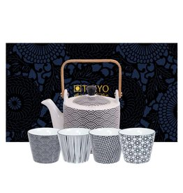 Tokyo Design Studio Tokyo Design Studio New Nippon Black 5-teiliges Teeservice. Teekanne 0,8 Liter mit 4 Teetassen.