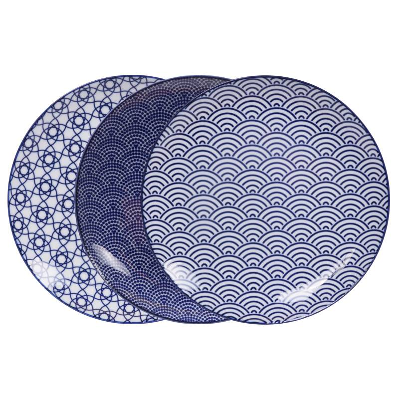Tokyo Design Studio New Nippon Blue Set of 3 Plates Ø 25 7 cm