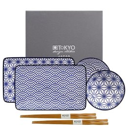 Tokyo Design Studio Tokyo Design Studio New Nippon Blue 6-teiliges Sushi Geschirr Set