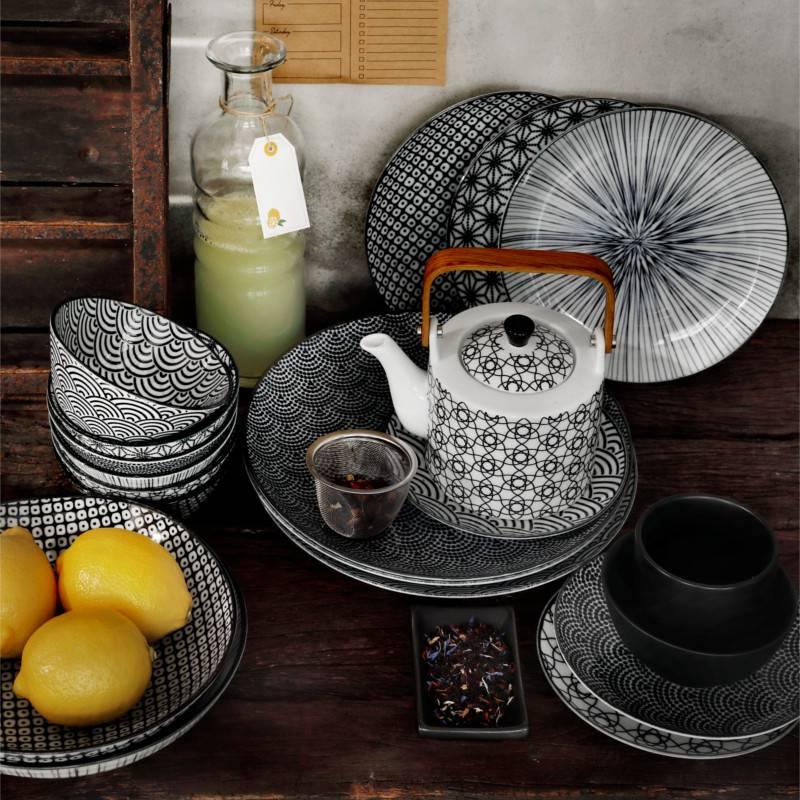 Tokyo Design Studio Lot de 3 Assiettes à pâtes Ø 21 cm New Nippon Black de Tokyo Design Studio