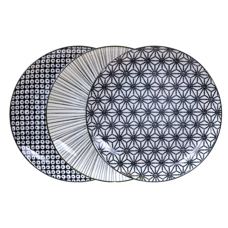 Tokyo Design Studio Tokyo Design Studio New Nippon Black Set van 3 Borden Ø 20,6 cm